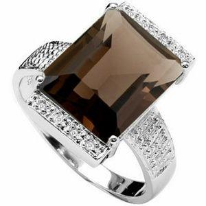 Jewelry - Genuine Smokey Topaz and Diamond 925 Silver Ring